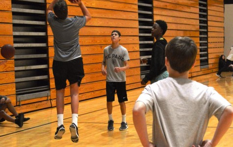 Freshmen take advantage of their time in physical education class as they play some basketball.