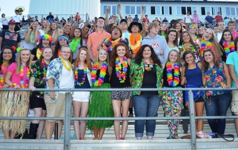 Members of the Greer High School Student Section show their School Spirit by dressing in