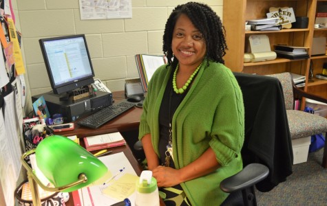 Atiba Jackson sits in her office in the Greer High School Guidance Department. Jackson, in her first year as a school counselor, comes to Greer High School from Travelers Rest High School where she taught as a Family and Consumer Science teacher.