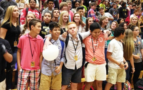 Members of the Greer High School Freshman Class pose for a picture during the first Pep Rally of the school year. Greer High School is getting prepared for Homecoming Week 2015.