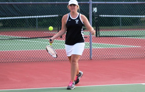 Senior Hannah Taylor returns the ball to an opponent. Taylor and the Greer High School Girl's Tennis swept Berea High School, 7-0, Tuesday night in a Region 2 match at Berea High School.