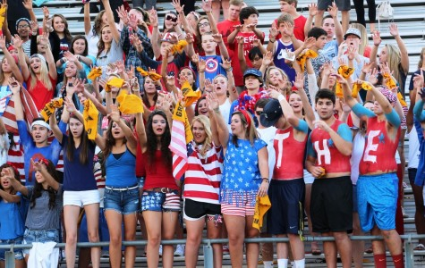 Greer High School students cheer during the Yellow Jackets' home football contest against Union County High School Friday night at Dooley Field.