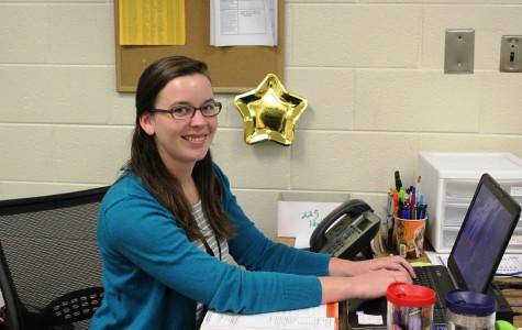 Colleen Hewitt works on a lesson plan for her math class. Hewitt is a new math teacher at Greer High School.