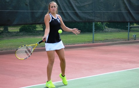 Sophomore Olivia Turner returns a ball to her opponent. Turner won her match at the No. 5 Singles against Southside High School.