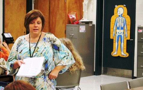 Kathy Jo Bratton teaches a lesson in her Sports Medicine Class. Bratton, who is in her first year at Greer High School, taught at Enoree Career Center the past 10 years.