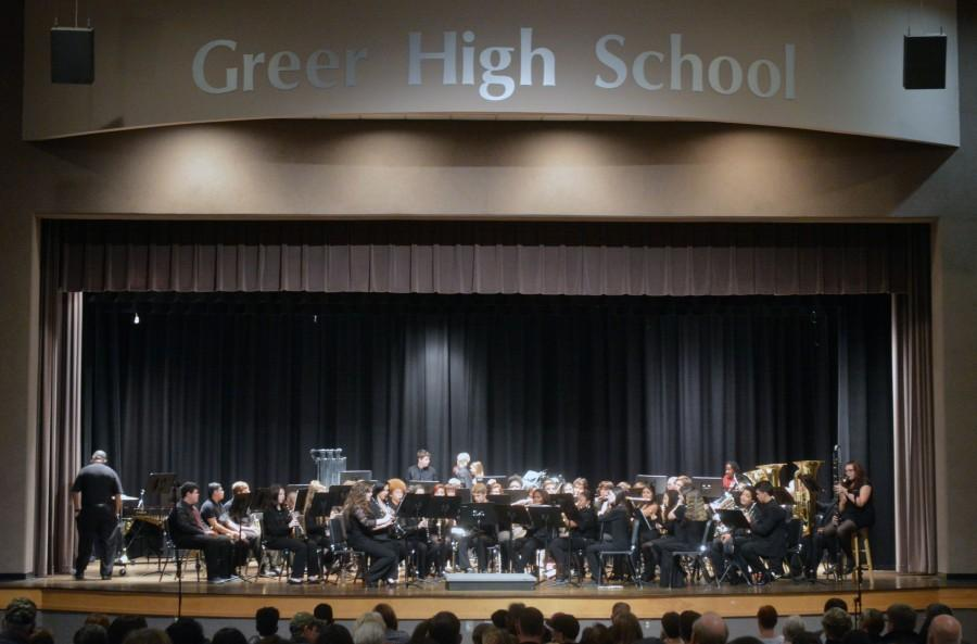 Members+of+the+Greer+High+School+Concert+Band+play+holiday+selections+during+the+annual+Holiday+Concert+Thursday+night+at+Greer+High+School.