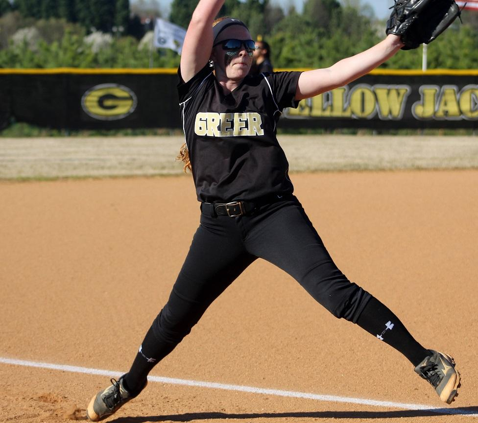 Greer High School Sophomore Sydney Craig warms-up before the Yellow Jackets home softball contest against Chapman High School on Tuesday.