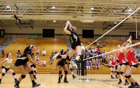 Greer High School Freshman Gabi Edwards rises to spike the ball in a JV match earlier in the season. Edwards, now with the varsity, helped lead the Yellow Jackets over Union County High School Thursday night at Union County High School.